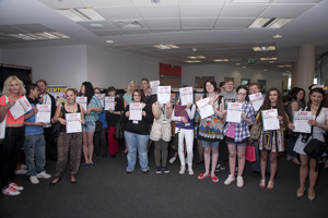 Students at Northampton College celebrating SBC 2012