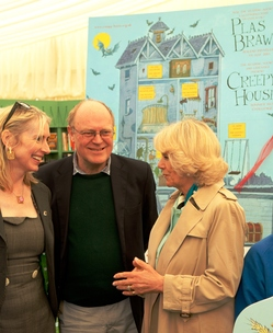 The Duchess of Cornwall with authors Korky Paul and Lauren Child