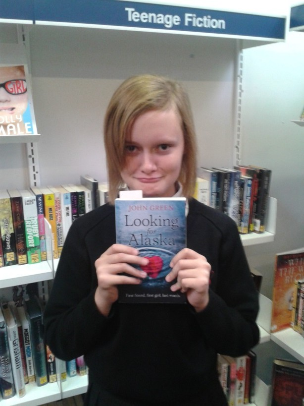 Caitlin Bramwell, 14, posing with Looking for Alaska by John Green.jpg